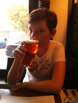 Hannah, my travel budy with a pint.