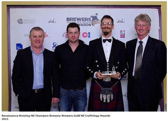 The Renaissance crew at the BrewNZ Awards. Yes, their Brewer Andy wears a kilt.